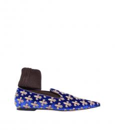Blue Gold Embroidery Socks Loafers