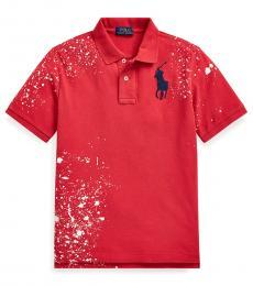 Ralph Lauren Boys Sunrise Red Distressed Mesh Polo