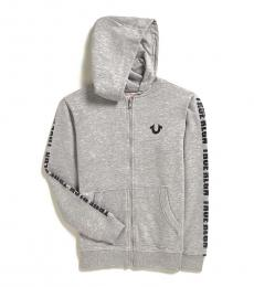 True Religion Boys Grey Logo Taping Zip Hoodie