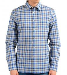 Prada Blue Plaid Long Sleeve Dress Shirt