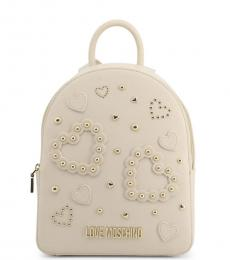 White Studded Heart Medium Backpack