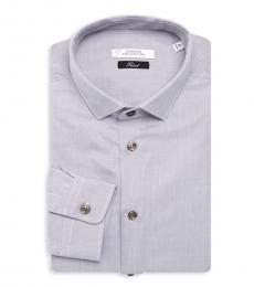 Versace Collection Light Grey Logo Embroidered Shirt