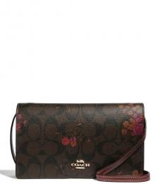 Brown Floral Foldover Small Crossbody