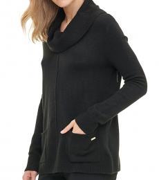 Calvin Klein Black Cowl Neck Pocket Sweater