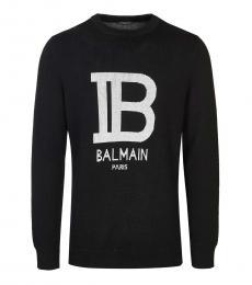 Black Solid Logo Sweater