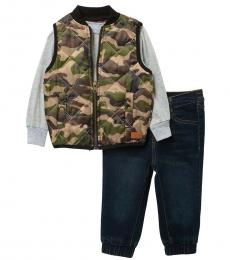 7 For All Mankind 2 Piece Vest/T-Shirt/Jeans Set (Baby Boys)