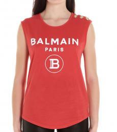 Balmain Red Logo Cotton Top