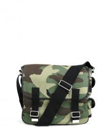 Saint Laurent Camouflage Canvas Large Messenger Bag