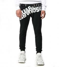 Black Logo Print Track Pants