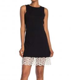 Black Lace Hem Midi Dress
