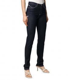 Emporio Armani Dark Blue Contrast-Stitch Skinny Jeans