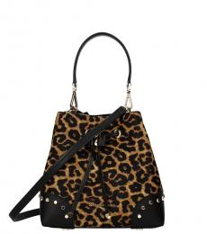 Michael Kors Leopard Print Mercer Gaklery Small Bucket Bag