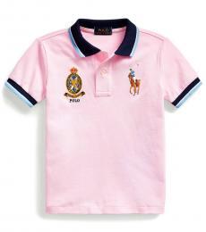 Little Boys Carmel Pink Big Pony Crest Polo