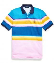 Boys Carmel Pink Striped Mesh Polo
