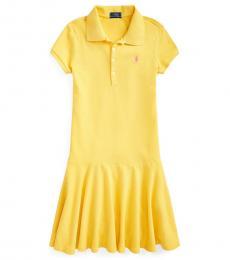 Ralph Lauren Girls Signal Yellow Stretch Mesh Polo Dress
