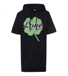Black Hooded Logo Dress