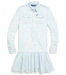 Girls Faded Indigo Wash Chambray Dress