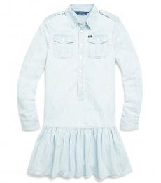 Ralph Lauren Girls Faded Indigo Wash Chambray Dress