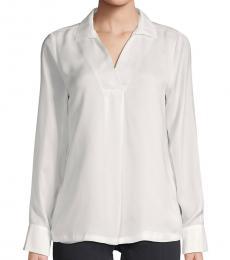Cream Spread Collar Long-Sleeve Top