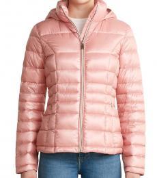 Calvin Klein Shine Rose Gold Hooded Packable Jacket