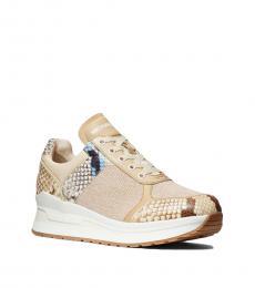 Michael Kors Khaki Lindy Snake Print Sneakers