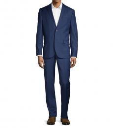 Ben Sherman Navy Blue Slim Fit Check Suit