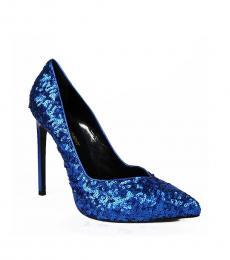 Saint Laurent Blue Sequined Heels
