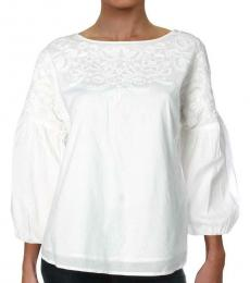 Ralph Lauren White Embroidered Puff Sleeves Blouse