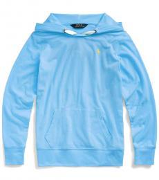 Ralph Lauren Little Girls Blue Stretch Jersey Hoodie