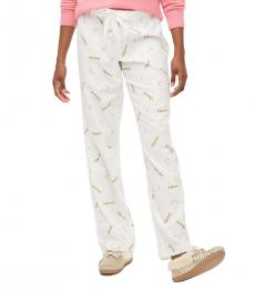 J.Crew White Printed Flannel Pajama Pant
