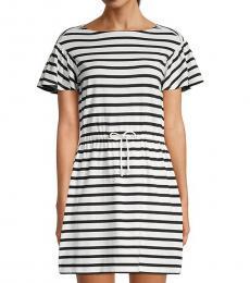 Kate Spade Black Striped Drawstring Cotton Mini Dress