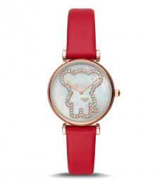 Emporio Armani Red Glitz-Outlined Mouse Watch