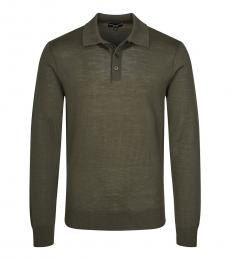 Emporio Armani Olive Long Sleeve Polo