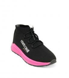 Roberto Cavalli Black Knit Lace Sneakers