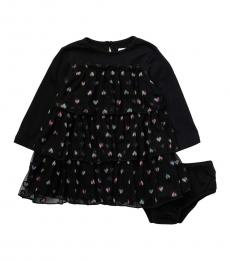 BCBGirls Baby Girls Black Heart Tiered Dress