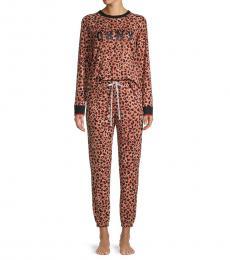 DKNY Brown 2-Piece Leopard Pajama Set