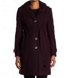 Michael Kors Purple Missy Belted Trench Coat