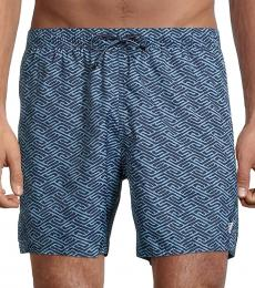 Emporio Armani Blue Printed Swim Trunks