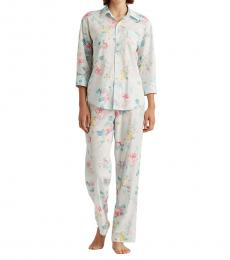 Ralph Lauren Mint Floral Floral Cotton-Blend Sleep Set