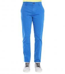 Blue Gabardine Slim Fit Trousers