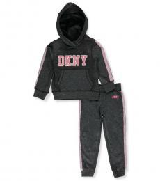 DKNY 2 Piece Sweatsuit Set (Little Girls)
