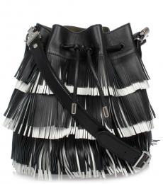 Black Fringe Small Bucket Bag
