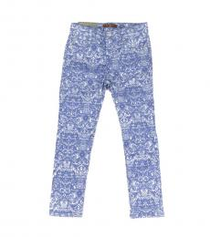 Little Girls Light Blue Printed Jeans