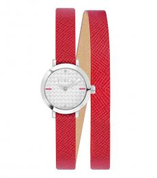 Furla Red Vittoria Leather Watch