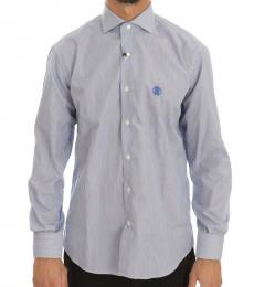 Blue Striped Slim Fit Dress Shirt