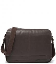 Cole Haan Chocolate Leather Large Messenger Bag
