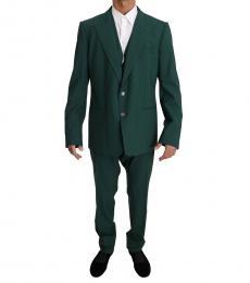 Dolce & Gabbana Bottle Green Wool 3 Piece Stretch Suit