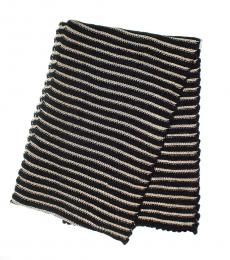 Black-Gold Chenille Metallic Scarf