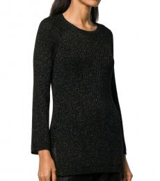 Black Kinitted Crew Neck Sweater
