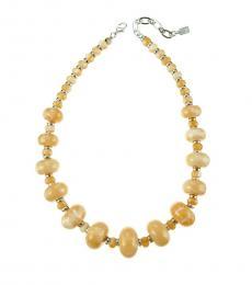 Beige Marbleized Bead Necklace